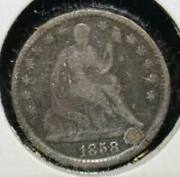 1858 HALF DIME 5 FIVE CENTS SILVER 90 TYPE COIN