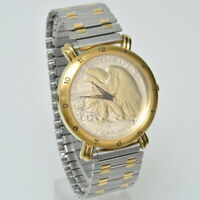 WALKING LIBERTY HALF DOLLAR WRIST WATCH WITH NEW BATTERY WITH EXPANDABLE BAND