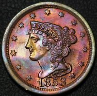 1853 BRAIDED HAIR COPPER HALF CENT RAINBOW TONED