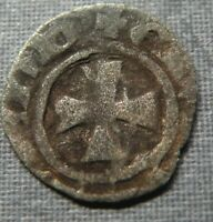 MEDIEVAL SILVER COIN 1100 1200 AD CRUSADER CROSS EUROPE ANCI