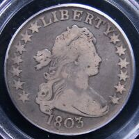 1803 DRAPED BUST HALF DOLLAR PCGS  GOOD 10  LIGHT GREY WITH  DETAIL