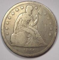 1860-O SEATED LIBERTY SILVER DOLLAR $1 - VG DETAILS -  EARLY COIN