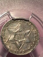 1855 THREE CENT SILVER PCGS XF45 LOW MINTAGE YEAR