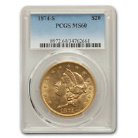 1874-S $20 LIBERTY GOLD DOUBLE EAGLE MINT STATE 60 PCGS - SKU163509