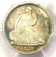 1837 SEATED LIBERTY HALF DIME H10C  NO STARS SMALL DATE    PCGS AU DETAILS