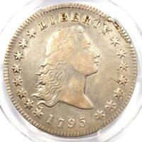 1795 FLOWING HAIR SILVER DOLLAR $1 2 LEAVES - PCGS EXTRA FINE  DETAIL EF -  COIN
