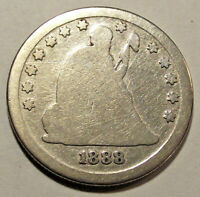 1888 S SEATED LIBERTY QUARTER LOT MK18 APPEARS TO HAVE BEEN CLEANED