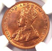 1916 STRAITS SETTLEMENTS GEORGE V HALF CENT 1/2C COIN   NGC MS65 RB  GEM BU