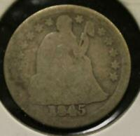 1845 10C 10 CENT  SEATED LIBERTY DIME  SILVER K623