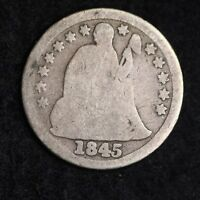 1845 SEATED LIBERTY DIME CHOICE G SHIPS FREE E245 T