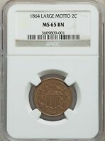 1864 TWO CENT NGC MINT STATE 65 - GEM 09001
