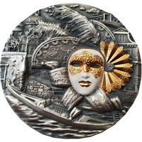 NIUE ISLAND 2019 5$ VENETIAN MASK HIGH RELIEF 2OZ SILVER COI