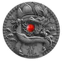 CHINESE DRAGON RED CORAL 2018 2 OZ $2 ULTRA HIGH RELIEF ANTI