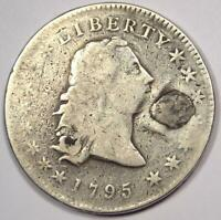 1795 FLOWING HAIR SILVER DOLLAR $1 - VG DETAILS PLUGGED -  EARLY COIN