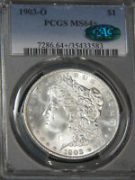 1903-O MORGAN DOLLAR PCGS MINT STATE 64 CAC BLAST WHITE SUPERB LUSTER, PQ 76L