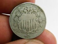 1867 SHIELD NICKEL, RAYS,  GRADE, LIGHT SCRATCHES ON OBVERSE