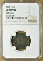 1825 CLASSIC HEAD COPPER HALF CENT NGC  FINE DETAILS LOW MINTAGE
