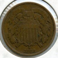 1868 TWO CENTS COIN - 2-CENT PIECE - KY120