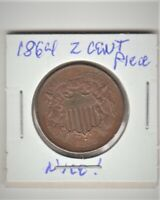 1864 UNITED STATES TWO CENT PIECE COIN RED & BROWN UNCIRCULATED