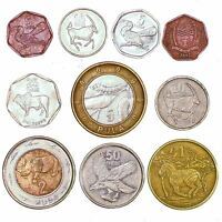 BOTSWANA COINS SOUTHERN AFRICA 5 THEBE   5 PULA OLD COLLECTIBLE COINS