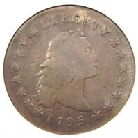 1795 FLOWING HAIR SILVER DOLLAR $1 COIN - CERTIFIED ANACS VG DETAILS -