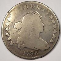 1798 DRAPED BUST SILVER DOLLAR $1 - GOOD DETAILS -  TYPE COIN
