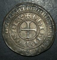 LARGE MEDIEVAL CRUSADER CROSS COIN ANTIQUE 1250 1324AD SILVE