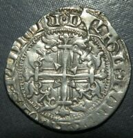 LARGE MEDIEVAL CRUSADER CROSS COIN ANTIQUE 1300'S AD SILVER