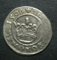 MEDIEVAL COIN 1508 SILVER CROWN CROSS EAGLE GERMANIC ANCIENT