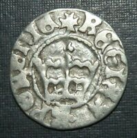 MEDIEVAL COIN 1400'S SILVER CROWN CROSS EAGLE GERMANIC ANCIE
