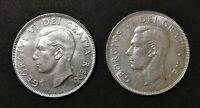 LOT OF 2 MS TO PR 1951 CANADIAN SILVER HALF DOLLAR 50 CENT C