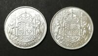 LOT OF 2 MS TO PR 1952 CANADIAN SILVER HALF DOLLAR 50 CENT C