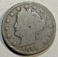 1896 G LIBERTY V NICKEL SEMI KEY DATE COIN, PRICED BELOW BOOK VALUE NO RESERVE
