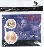 2012 US MINT CLEVELAND TYPE 1 PRESIDENTIAL $1 COIN & FIRST SPOUSE MEDAL SET UNC