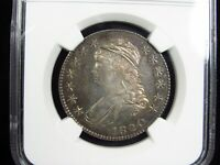 NGC AU58 PL 1820 U.S. CAPPED BUST HALF DOLLAR PROOF LIKE TONED FINEST KNOWN