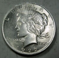 1922 SILVER PEACE DOLLAR COIN GRADES ABOUT UNC 520C