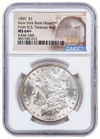 1889 MORGAN SILVER DOLLAR FROM NEW YORK BANK HOARD NGC MINT STATE 64 VAM-18A SKU58122