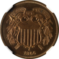 1866 TWO 2 CENT PIECE PROOF NGC PF64RB GREAT EYE APPEAL STRONG STRIKE