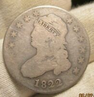 1822 CAPPED BUST QUARTER   RARE DATE