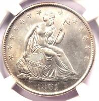 1861 O SEATED LIBERTY HALF DOLLAR 50C COIN   NGC UNCIRCULATED DETAILS  UNC MS