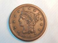 1854 1C BRAIDED HAIR LARGE CENT RARE OLD TYPE COIN U GRADE S