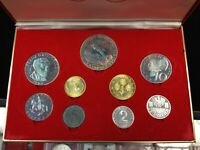 VTG 1964 AUSTRIA OLYMPIC PROOF SILVER COIN SET IN CASE