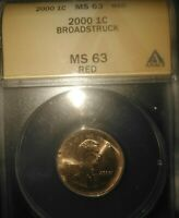 2000 ANACS MS63 RED QUARTER SIZED PENNY MINT ERROR