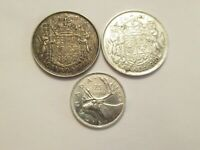 LOT OF 3  CANADA SILVER COINS  1940 & 1944 50C   1940 25C