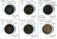 1858 1908  6 CANADA LARGE CENTS > CATALOG VALUE  $400 USD >