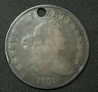 1798 SILVER DOLLAR BB-124, BLUNDERED STARS REV, DIE MARK FROM STEM TO MILLING