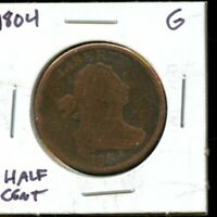 1804 UNITED STATES DRAPPED BUST HALF CENT COIN EG420