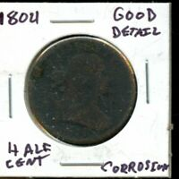 1804 UNITED STATES DRAPPED BUST HALF CENT COIN EG421