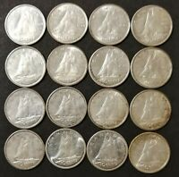 AU TO MS LOT OF 16 1960'S CANADIAN 80  SILVER 10 CENT DIMES