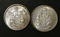 LOT OF 2 MS TO AU 1960'S CANADIAN SILVER HALF DOLLAR 50 CENT